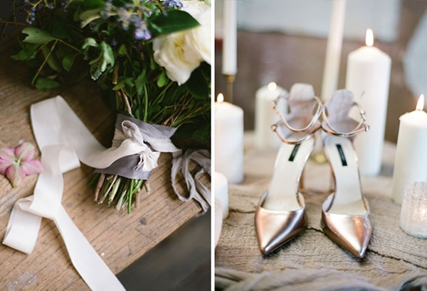 metallic-wedding-shoes-bridal-bouquet
