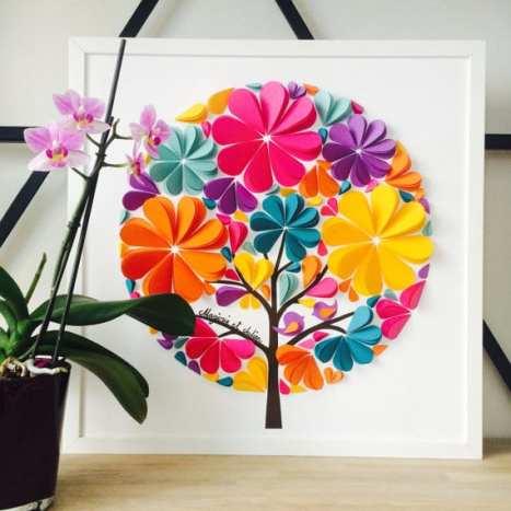 3D ευχολόγιο γάμου. Οι καλεσμένοι σας μπορούν να γράψουν τις ευχές τους πάνω στα πέταλα των πολύχρωμων λουλουδιών και να χρησιμοποιηθεί στη συνέχεια ως διακοσμητικό