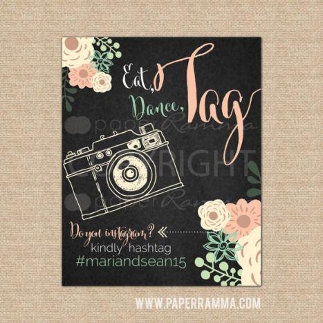 Chic πινακίδα γάμου για το hashtag του γάμου σας