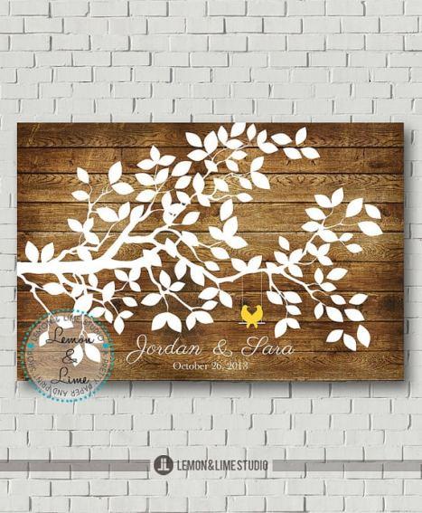 Εναλλακτική ιδέα για ευχολόγιο γάμου με ξύλο και σχέδιο με κλαδιά δέντρου