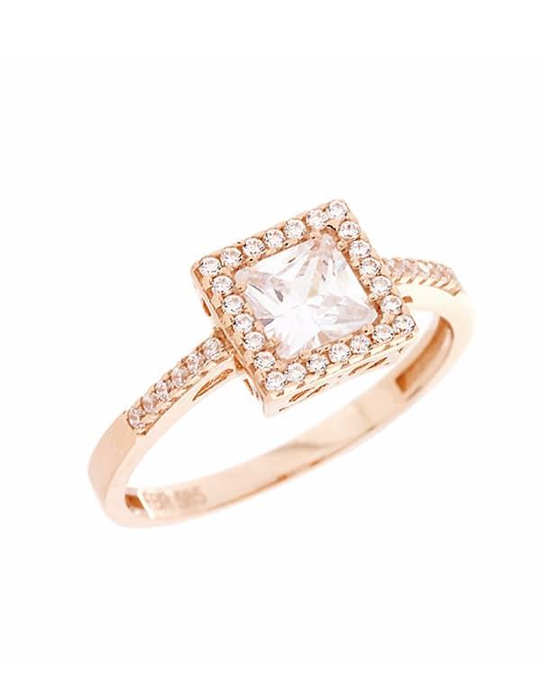 Μονόπετρο ροζ χρυσο δαχτυλίδι