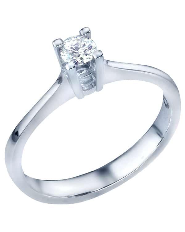 Λευκοχρυσο δαχτυλίδι με διαμάντι