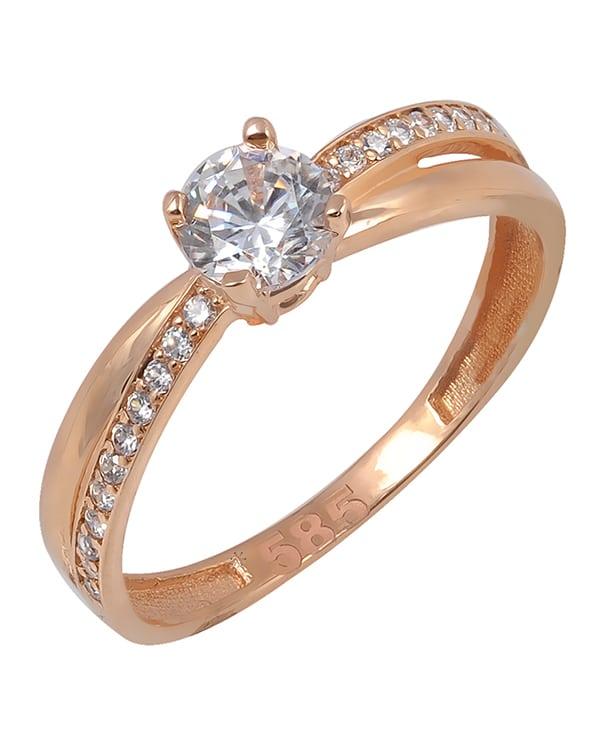 Ροζ- χρυσό μονόπετρο δαχτυλίδι