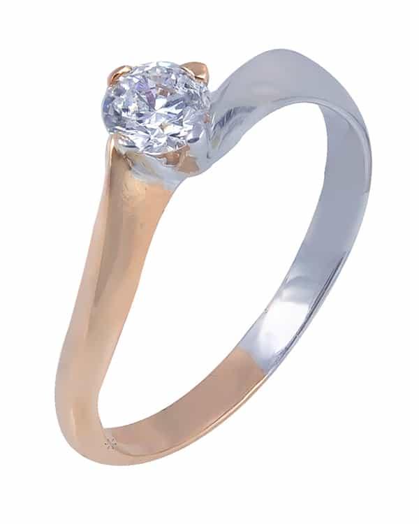 Λευκό & ροζ χρυσό μονόπετρο δαχτυλίδι