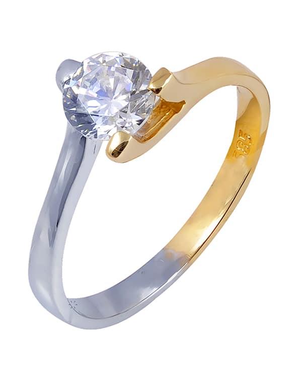 Λευκό και χρυσό μονόπετρο δαχτυλίδι