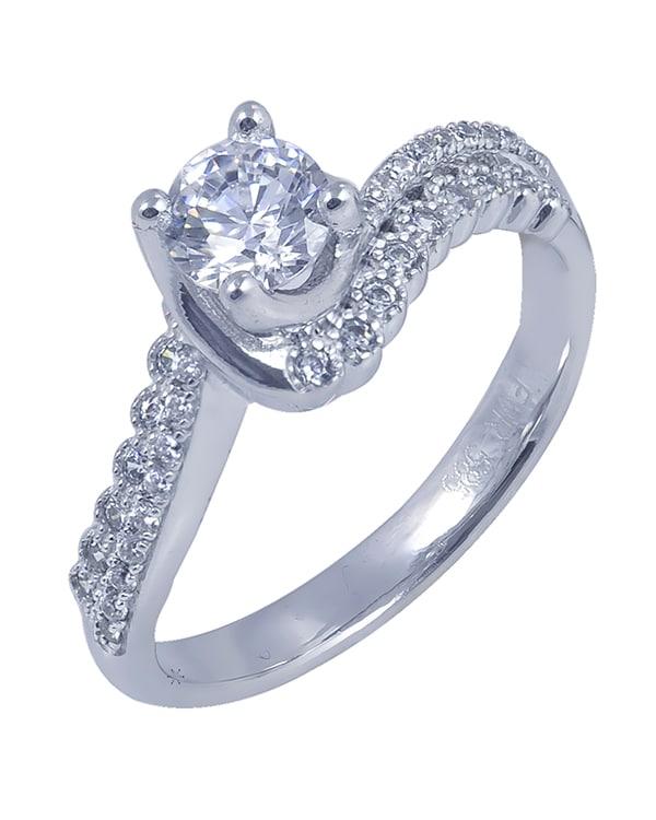 Λευκόχρυσο δαχτυλίδι με ζιρκόν