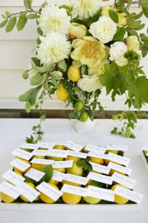 Escort cards with fruit