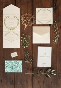 Προσκλητηρια με λεπτομερειες σε πρασινο χρωμα